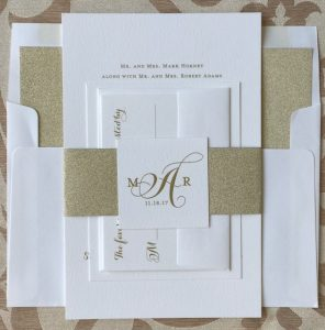 gold envelope liners and stationery